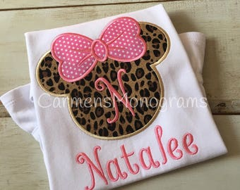 Personalized Girl's Minnie Mouse Ears with Appliqued Bow on Tshirt or Bodysuit, Girl's Disney Tshirt, Girls Appliqued Disney Tshirt