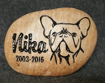 "FRENCH Bulldog or ANY BREED Dog  Memorial Stone 8"" or 6"" (approx size) Engraved, Name, Date & Choice Sayings"
