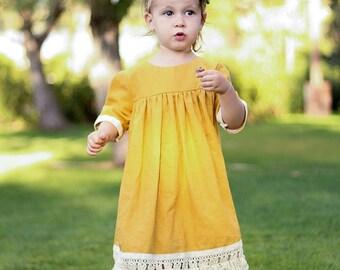 Elyse Mustard Linen Boho Dress