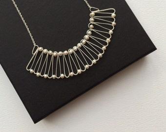 Fine Silver & Freshwater Pearl Fan Necklace