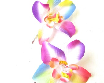2 x Rainbow Orchid Flower Hair Grips Clips Bobby Pins 1950s Hawaiian Boho 1763