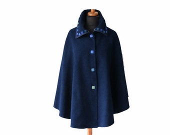 Vintage Blue Cotton Cape Coat Made in Finland One Size