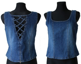 Vintage Blue Denim Sleeveless Blouse with Lacing Peasant Top M