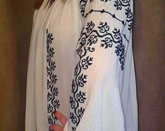 FREE SHIPPING Romanian Embroidery blouse, handmade cross stitch blouse, hippie blouse, boho blouse, peasant blouse, summer blouse