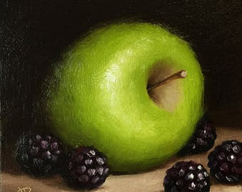Green Apple with Blackberries, Original Oil Painting still life by Jane Palmer