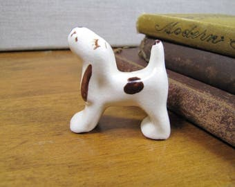 Small Porcelain Dog Figurine - Cream and Brown