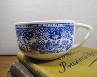 """Shallow """"Blue Willow"""" Coffee Cup - Creamy White - Shades of Blue"""