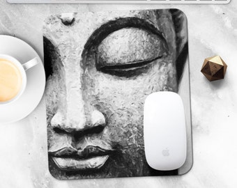 Mouse Pad Mousepad Buddha Mouse Mat Zen MousePad Office Gift for Coworker Mouse Mat Round Mousemat Yoga Om Mousepad Modern Desk Accessories