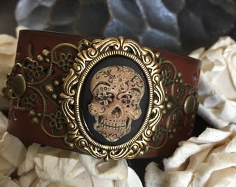 Sugar skull bracelet leather cuff, gothic bracelet, pirate jewelry, vegan bracelet, day of the dead, cameo jewelry, gothic jewelry