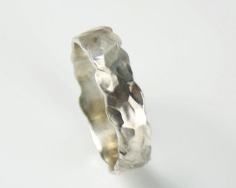 Rock Surface Hammer Textured Sterling Silver Thick Ring