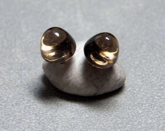 8mm Smoky Quartz Bullet Gemstone Post Earrings with Sterling Silver
