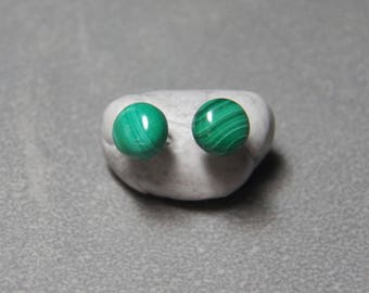 6mm Malachite Gemstone Post Earrings with Sterling Silver
