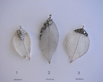 Real Leaf Pendant 925 silver plated • with SWAROVSKI Crystals • Electroplated Silver Leaf •