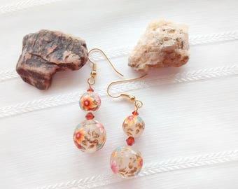 Orange Drop Earrings, Lily Bouquet Frost Earrings, Tensha Bead Earrings, Autumn Jewelry, Holiday Jewelry, Mother's Day GIft, Drop Earrings