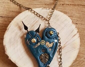 Handmade Polymer clay Steampunk dark teal loveheart necklace