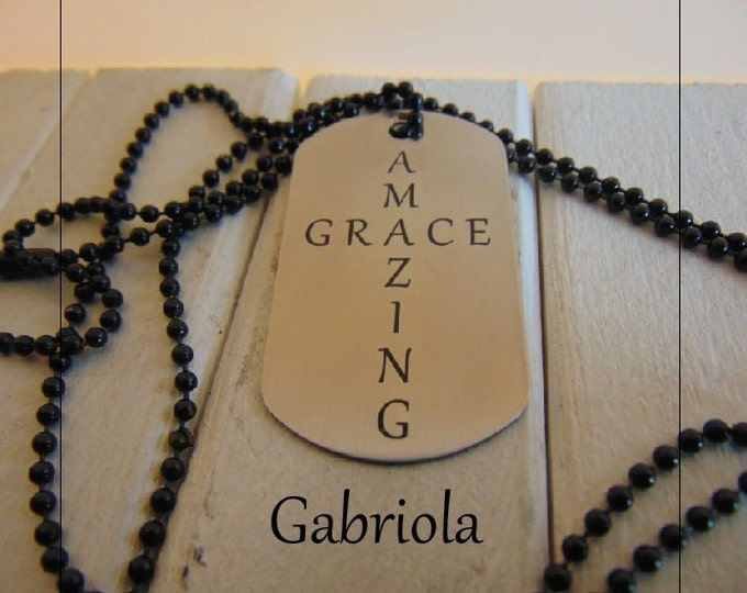 Amazing Grace Dog Tag shaped as a Cross, Five Styles available, Custom message or signature on the back in your hand writing stainless steel