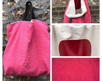 Large tote pink dark rustic linen, numbered unique piece.