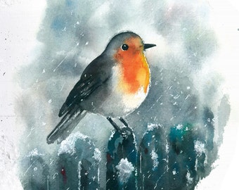 Robin bird watercolor painting art print