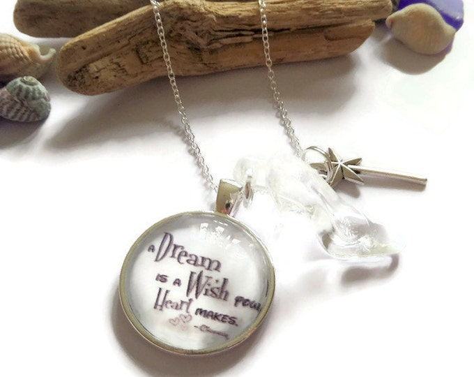 "A DREAM is a WISH Cinderella inspired 25mm 1"" glass dome 24"" silver tone chain necklace princess gift jewellery Uk"