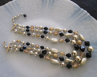 Vintage Japan Triple Strand Beaded Necklace Black Gold and Silver Textured Faceted Beads Multi Strand Beaded Necklace