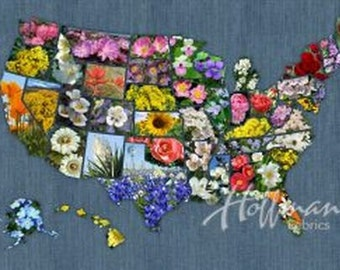 Blooms of America State Flowers from Hoffman by the panel