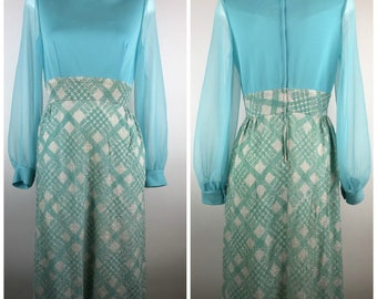 Vintage Blue Dress Maxi Sheer Sleeves Silver Tinsel 60s Mod Easter Spring Chiffon Polyester Knit Cuffed Sleeve Aqua 1960s
