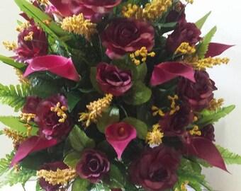 Large burgandy rose memorial vase