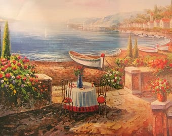 """Oil painting  ocean view printed on canvas 12""""*16"""" NO FRAME"""