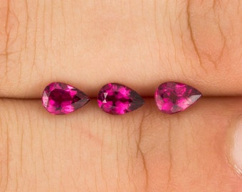 CADINGEMS 1.20ct trio RUBELLITE pink TOURMALINE 6X4mm oval jewelry - brazil
