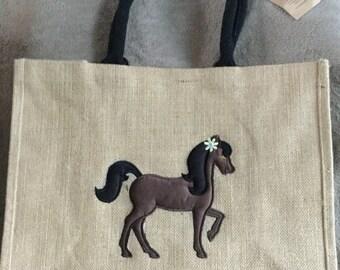 Large Horse Jute Bag