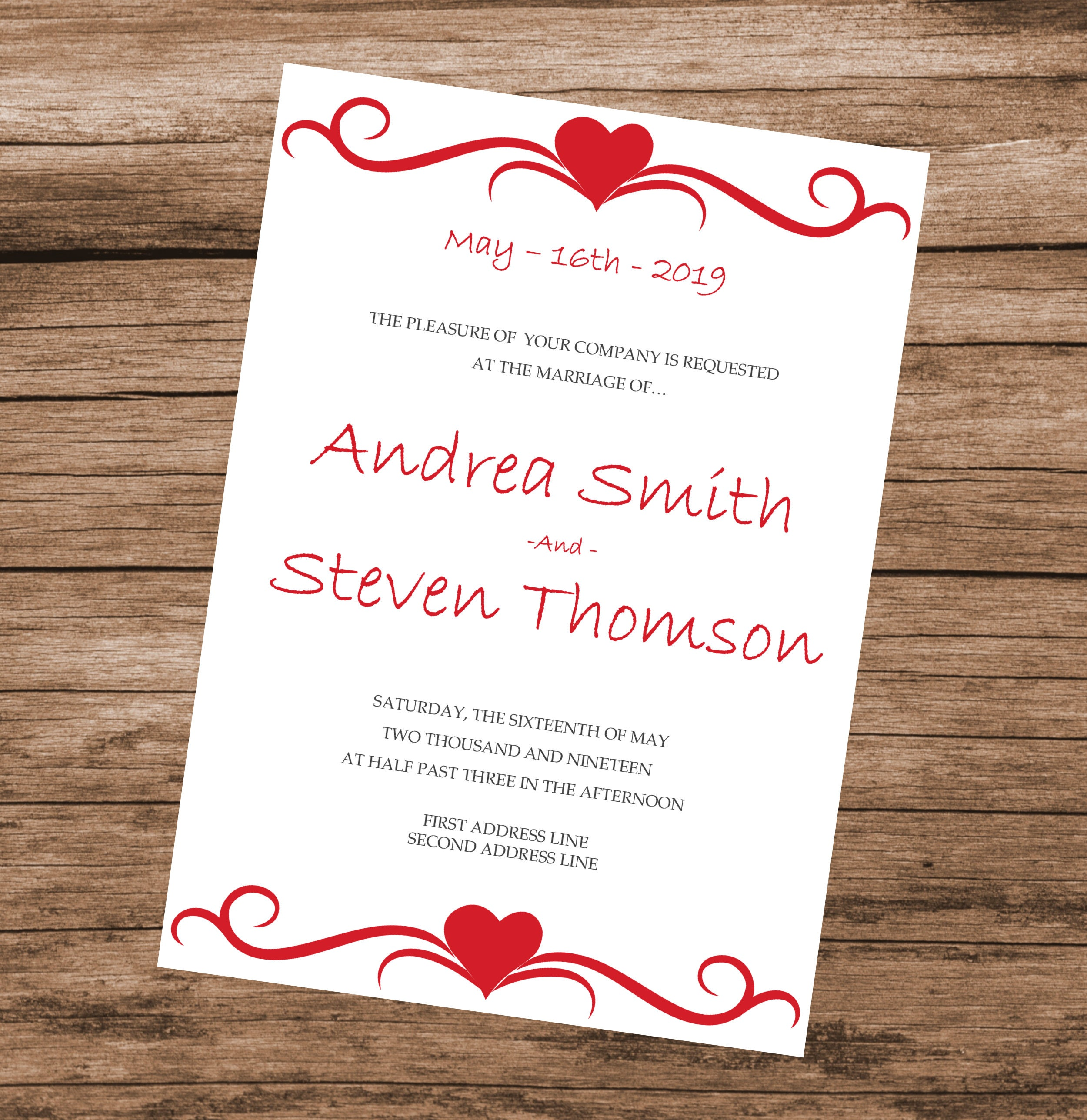DIY Wedding Invitation Template, Red Hearts Design, Editable Text ...