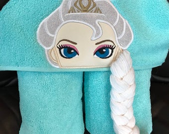Elsa inspired hooded towel bath/pool/beach, kids or adult sizes, perfect gift for any occasion