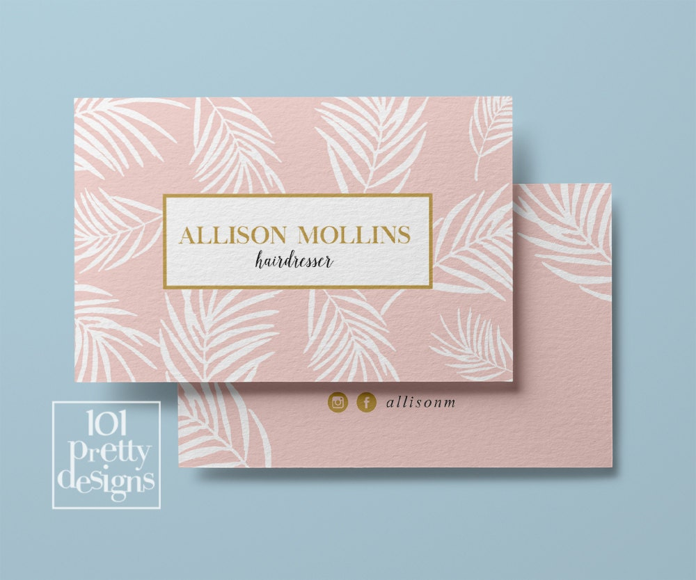 Floral business card design custom business card pink