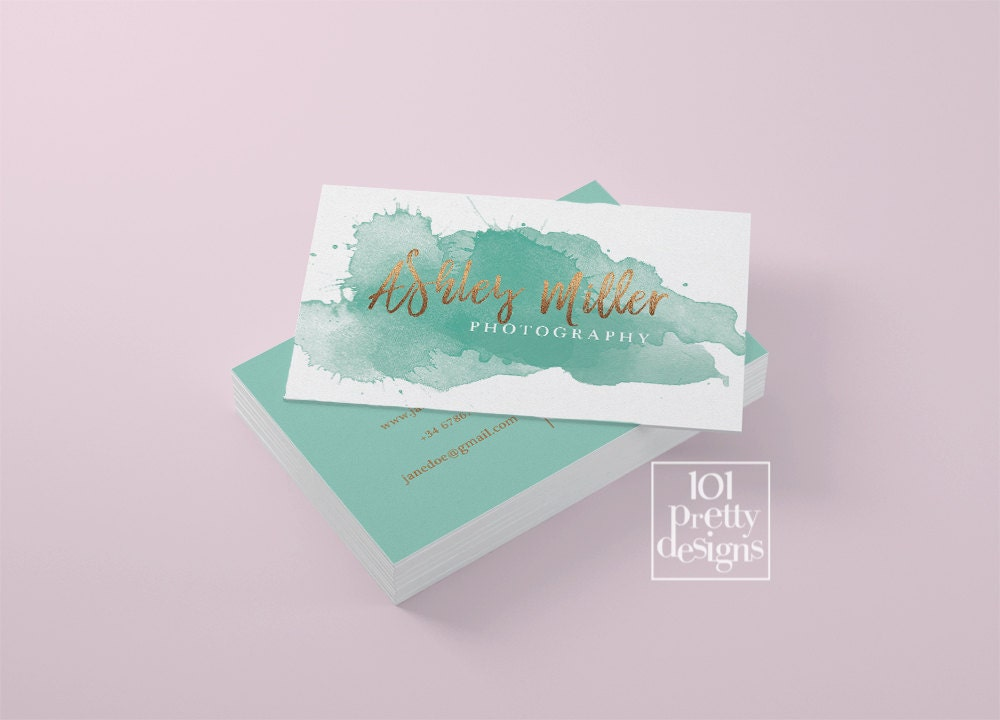 Watercolor business card template rose gold printable business card watercolor business card template rose gold printable business card design gold and green business card rose reheart Gallery