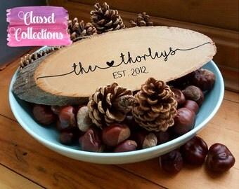 Personalised Wood Slices - Mr Mrs Gift Established Wedding Valentines
