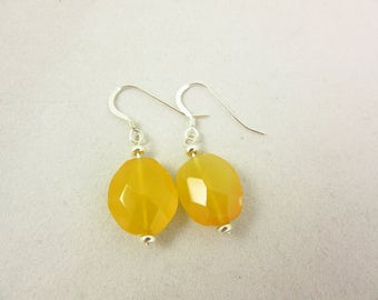 Yellow Chalcedony Earrings/Dangle Earrings/Sterling Earrings/Handmade Earrings/Chacedony Jewelry/Modern Jewelry/Simple Jewelry/Gift for Her
