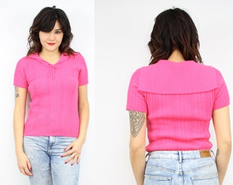 Vintage 80's Hot Pink Acrylic Sweater Top / 1980's Sailor Sweater Blouse / Women's Size XS/Small
