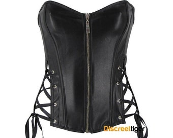 Black Corset Faux Leather With Zipper And Side Ties DTS00768