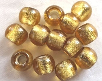 Lot of 6 12mm light Topaz  Silver Lined big hole Czech glass druk beads, large 4mm hole druks  C8401