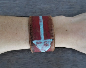 Red Blue Painted Arrow Native American Primitive Art Up-Cycled Leather Cuff Bracelet
