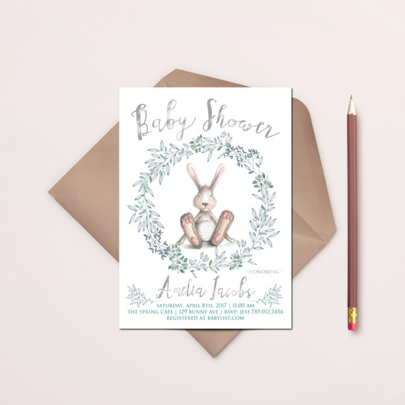 bunny baby shower invitation printable bunny rabbit invite gender