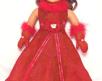 Glittering Red Organza A-Line Feather Long Party Dress and Gloves for American Girl