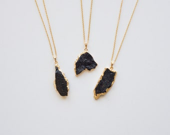 Black Tourmaline Pendant Necklace - Long Black and Gold Layer Necklace