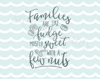 Families are like fudge quote  SVG. Cricut Explore and more. Cut or Printable. The Family Fudge Sweet Family Quote Family Love SVG
