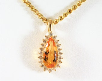Dazzling Honey Topaz and Diamond Detachable Enhancer Pendant