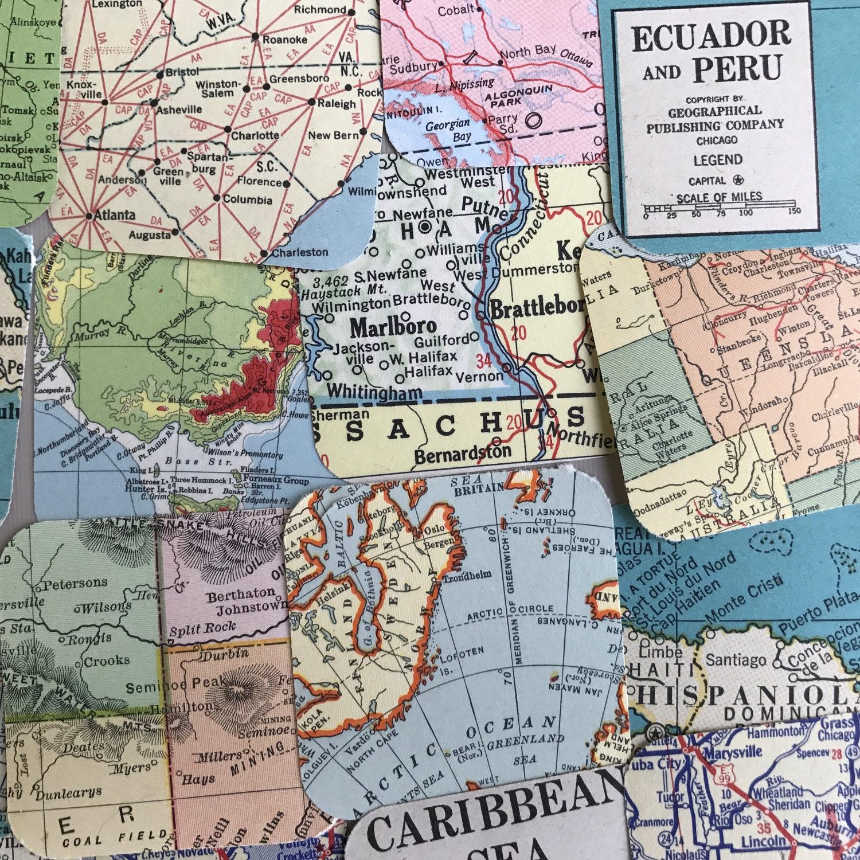 Vintage Map Ephemera Pack Squares Atlas Road Maps International US - Vintage us road map