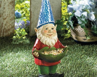 Garden Solar Light Lawn Gnome Bird Feeder