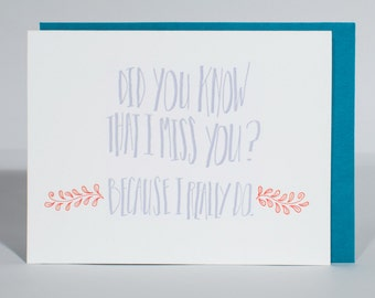 Hand-lettered, Letterpress Miss You Greeting Card, Handmade A2 Card