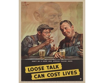 World War Propaganda Loose Talk Can Cost Lives Vintage Advertising Enamel Metal TIN SIGN Wall Plaque