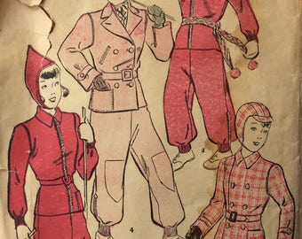 Advance 2106 girls snow suit w/hood & helmet size 4 vintage 1940's sewing pattern